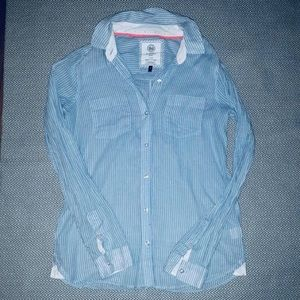 Sheer Baby blue and white button down flannel